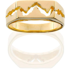 HR001; 14K Yellow Gold Mens Teton Ring