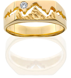 HR003D; 14K Yellow Gold 7mm Teton Ring w/Textured Mountains and Diamond in the Sky
