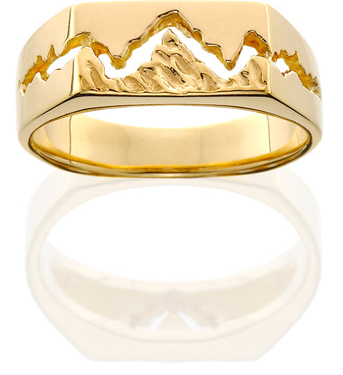 HR003; 14K Yellow Gold Mens Teton Ring w/Textured Mountains