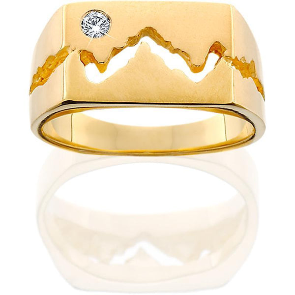 HR007; 14K Yellow Gold 10mm Teton Ring