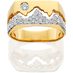 HR012; 14K Yellow Gold Mens Teton Ring w/Diamond Pave Mountains and Diamond in the Sky