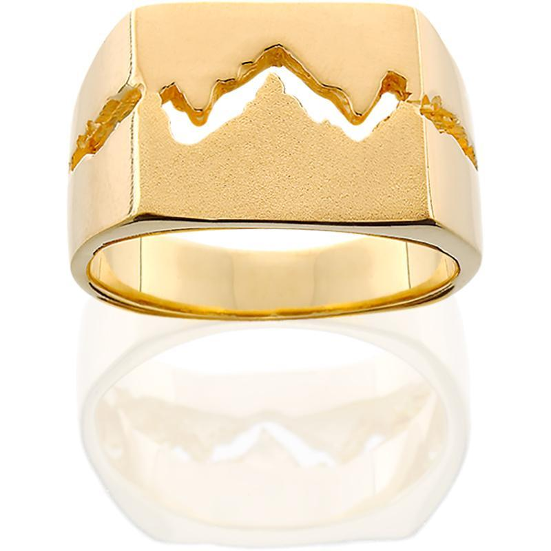 HR013; 14K Yellow Gold 11mm Teton Ring