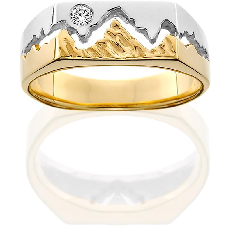 HR037; 14K Two Tone 7mm Teton Ring