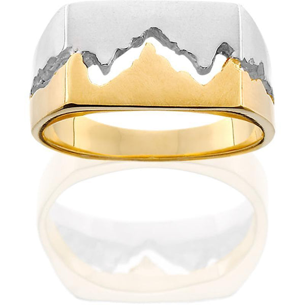 14KTT Mens 10MM Teton Mountain Ring