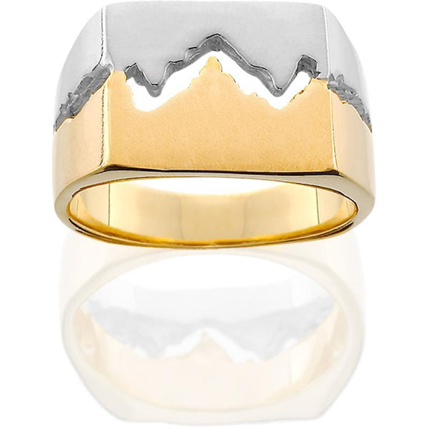 HR045; 14K Yellow and White Gold Men's Teton Ring
