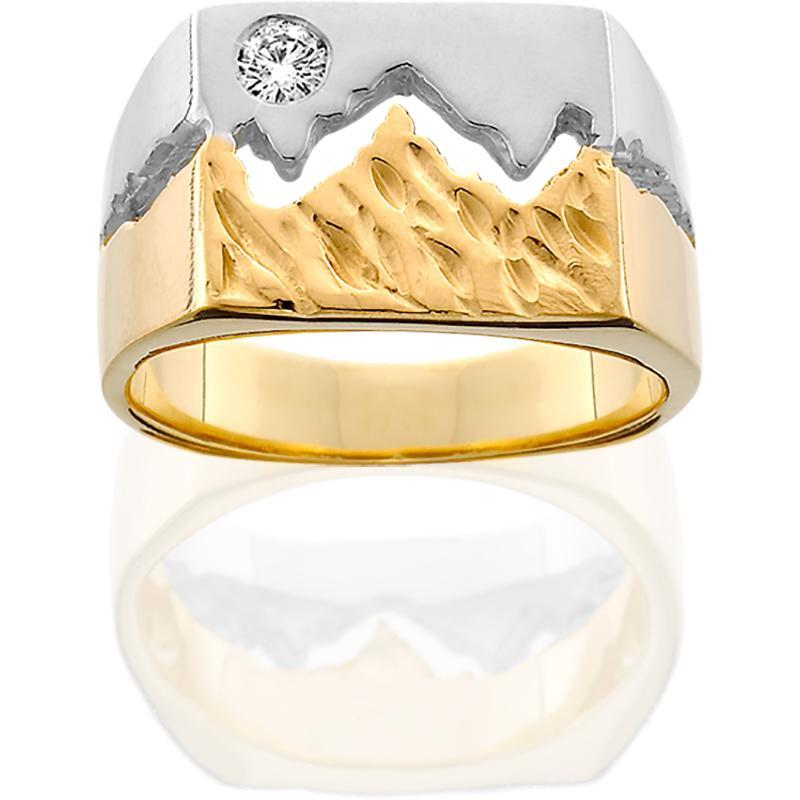 HR045; 14K Two Tone 11mm Teton Ring