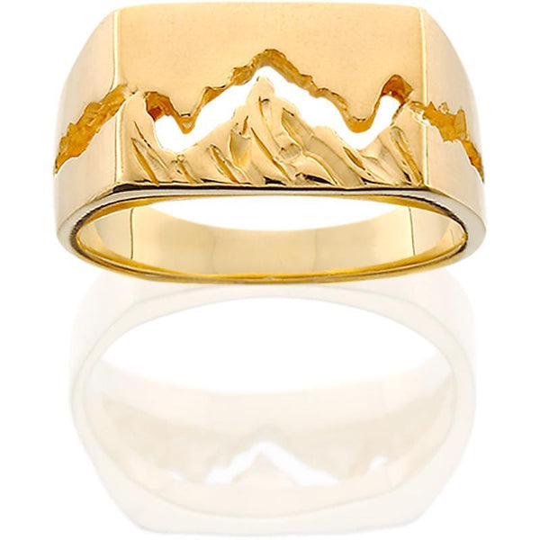 HR109; 14K Yellow Gold Womens Wide Teton Ring w/Textured Mountains