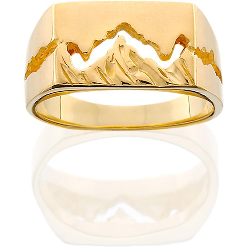 HR109; 14K Yellow Gold 10mm Teton Ring w/Textured Mountains