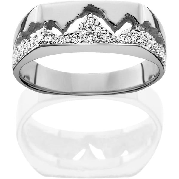 HR126; 14K White Gold Womens Teton Ring w/Diamond Pave Mountains