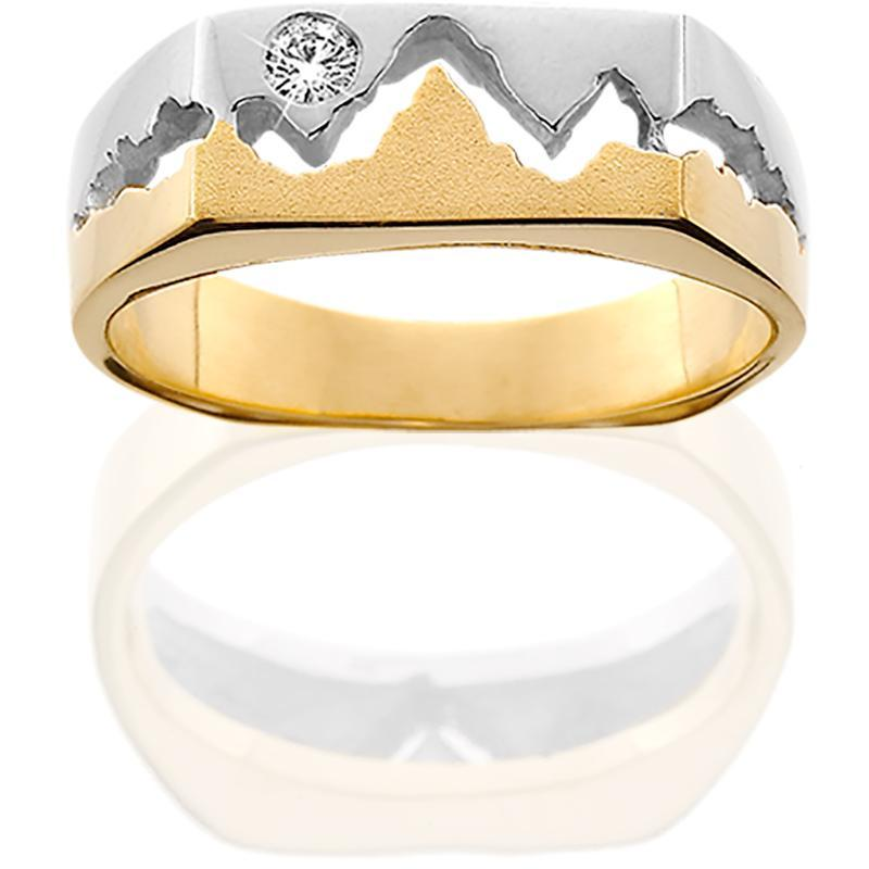 HR137; 14K Yellow and White Gold Womens Teton Ring