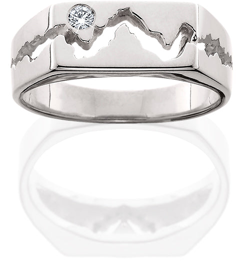 HR023; 14K White Gold Men's Teton Ring