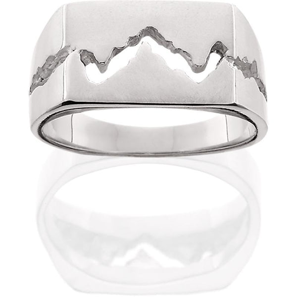 Silver Mens 10MM Teton Mountain Ring
