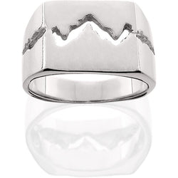 HR213; Silver Mens Wide Teton Ring