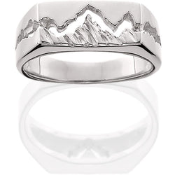 HR303; Silver Womens Teton Ring w/Textured Mountains, Plain or w/Sapphire Options