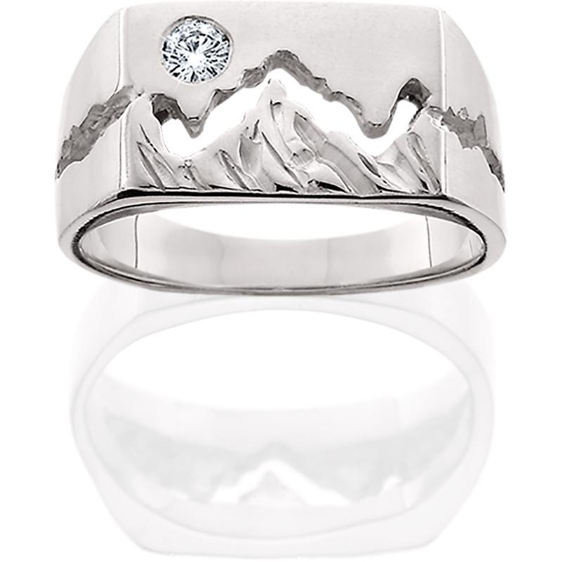 Silver Womens 10mm Teton Mountain Ring