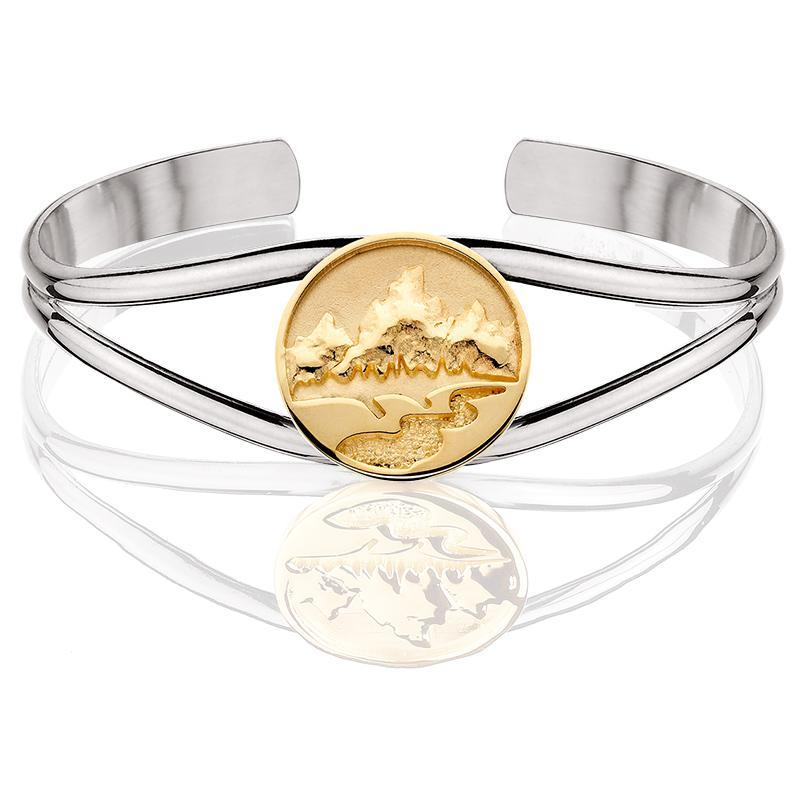 HB006; Silver & 14K Yellow Gold Cuff Bracelet with Medium Teton Emblem w/Raised Mountains and Textured River
