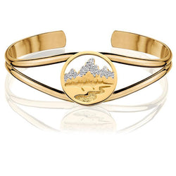 HB011; 14K Yellow Gold Cuff Bracelet with Teton Emblem  w/Diamond Pave Mountains and Textured River