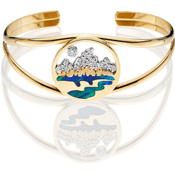HB015D; 14K Yellow Gold Cuff Bracelet with Teton Emblem w/Diamond Pave Mountains, Opal Inlay and a Diamond in the Sky