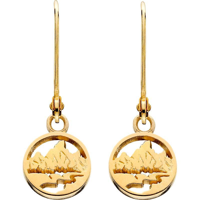 HE001; 14K Yellow Gold Teton Earrings w/Textured Mountains and Open River