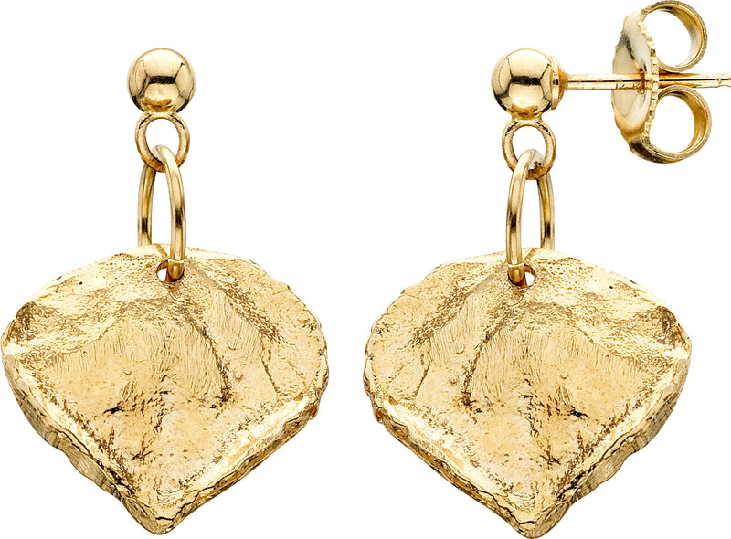 HE140; 14K Yellow Gold Small Aspen Leaf Earrings, Ball Posts