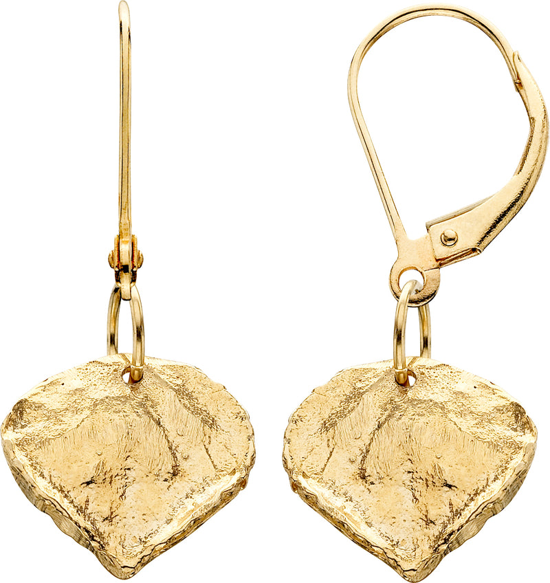 HE145; 14K Yellow Gold Medium Aspen Leaf Earrings, Leverback