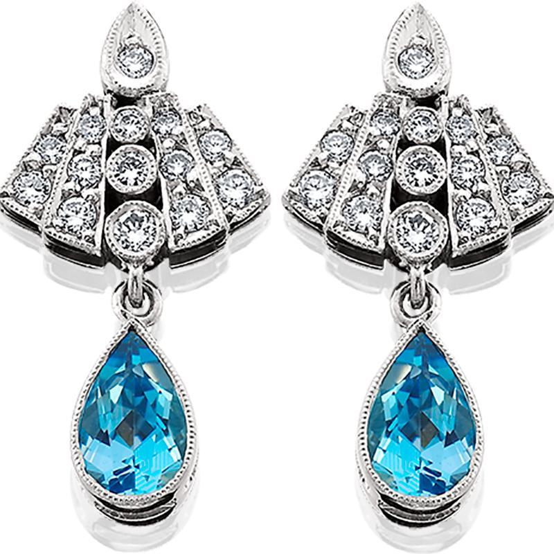 Hugette0001; Platinum Earrings with Aquamarines and Diamonds