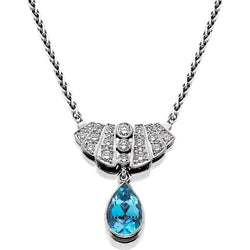 HUGETTE0002; Aquamarine and Diamond Necklace set in Platinum