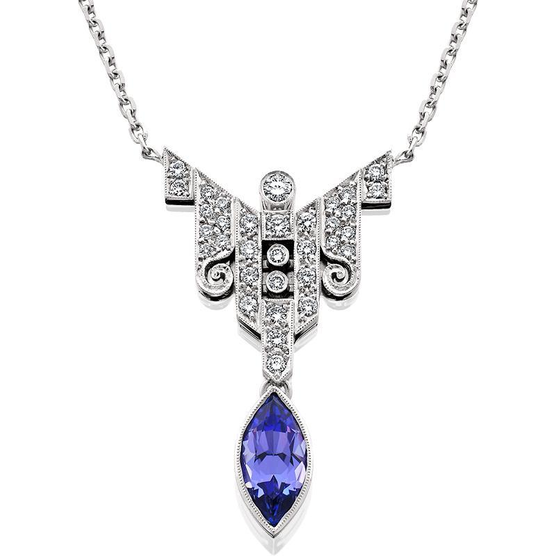 HUGETTE0006; Tanzanite and Diamond Necklace set in Platinum