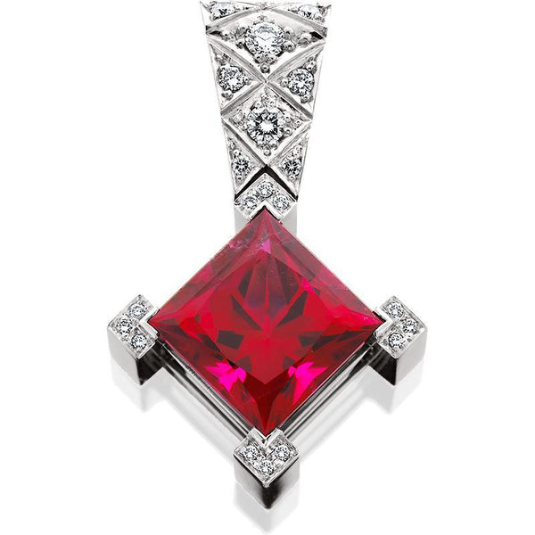 HUGETTE0011; Rubellite Tourmaline and Diamond Pendant set in Platinum
