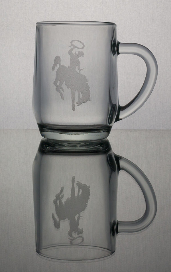 AS095BB; Hayworth Tempered Glass Mug w/Bucking Bronco