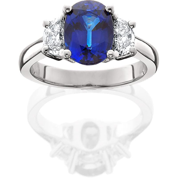 JB006; Blue Sapphire and Diamond Platinum Ring
