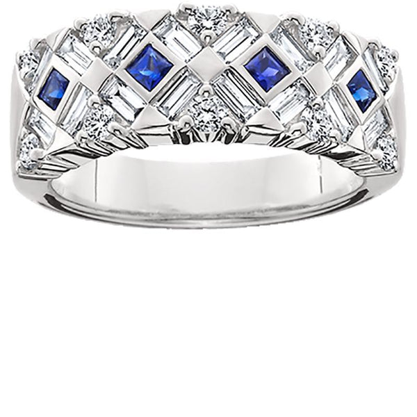 JB007; 18K White Gold Blue Sapphire and Diamond Crosshatch Ring