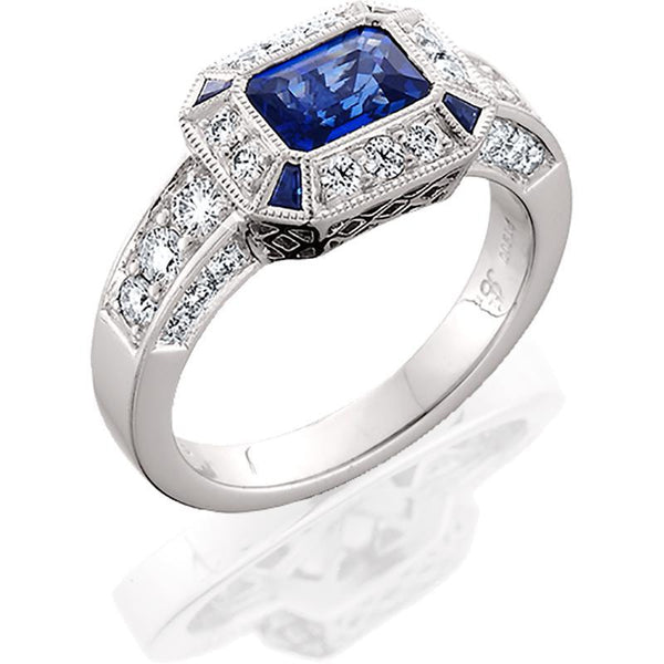 JB045; Blue Sapphire and Diamond Platinum Ring