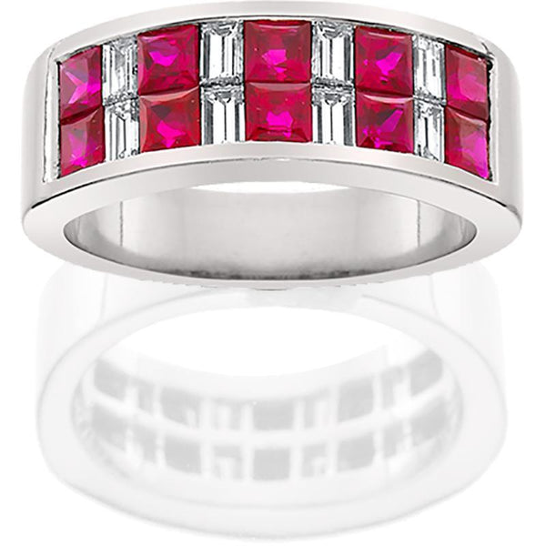 JB016; Ruby and Diamond Platinum Ring