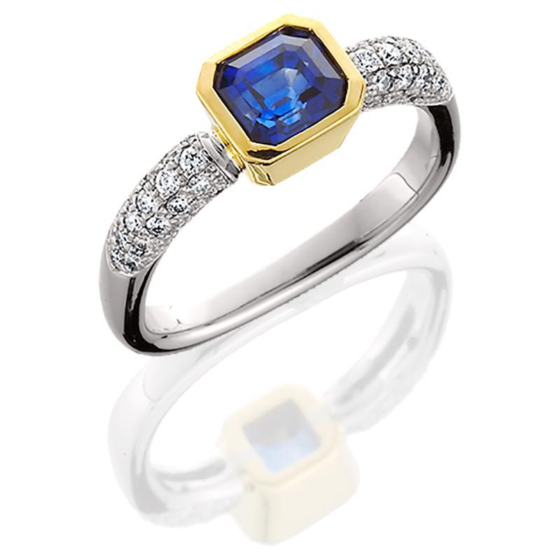 JFA005; Blue Sapphire and Diamond Ring