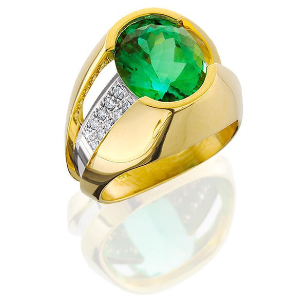 JFA006; Green Tourmaline and Diamond Ring set in 18 Yellow & White Gold