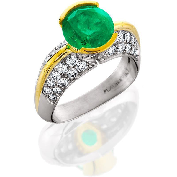 Plat/18k Ring Emerald Round 2.41ct Diamonds .84tw Pave