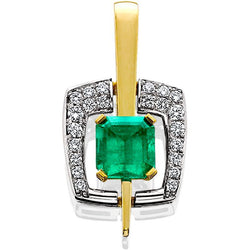 JFA103; Emerald and Diamond Pendant set in 18K White and Yellow Gold