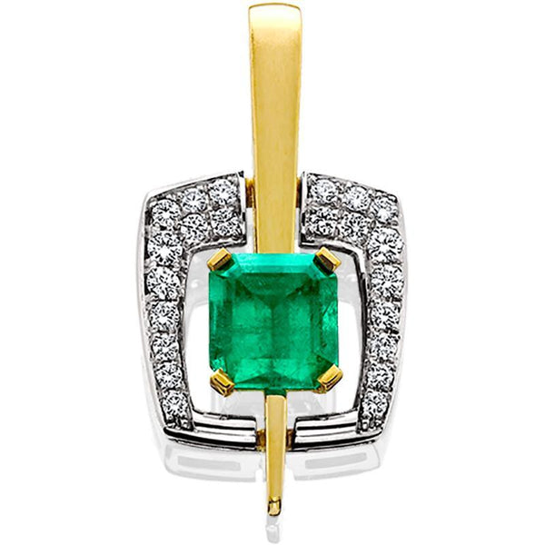 18ktt Pendant Emerald 1.96ct Diamonds .37tw
