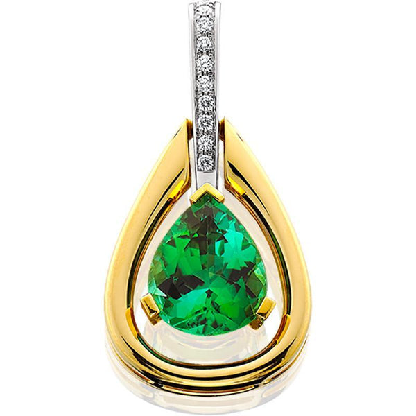 18ktt Pendant Gr.tourmaline 4 .09ct Diamond .10 F-g Vs1