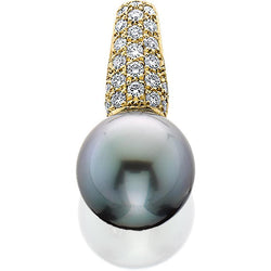 JFA107;  Gold and Diamond Tahitian Pearl Pendant