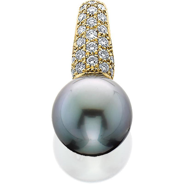 14kw Pendant Tahit.pearl 10 .4mm Diamonds .24tw