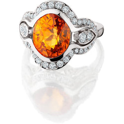 14kwh Ring Spessartite 7 .49ct. Oval Diamonds .62tw