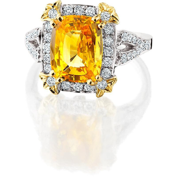 JM004; 18K White and Yellow Gold Yellow Sapphire and Diamond Ring
