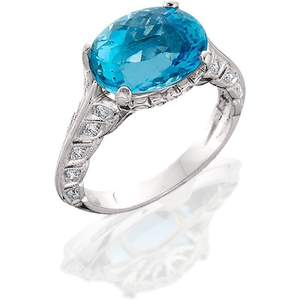 JM005; 18K White Gold Aquamarine and Diamond Ring