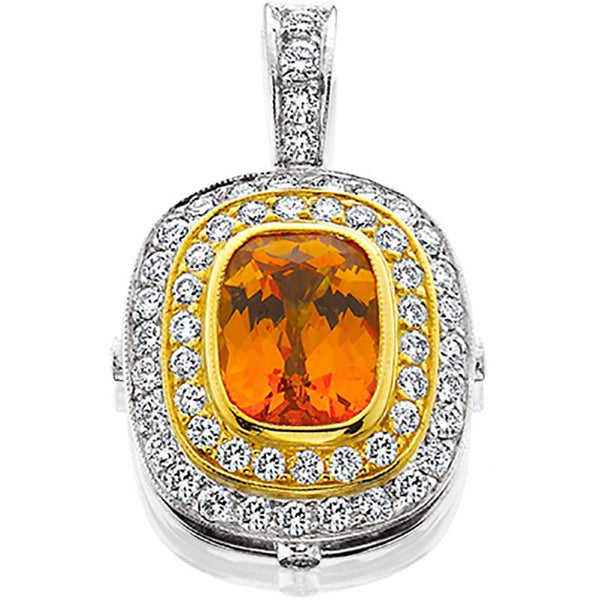 18ktt Pendant Spessartite 3 .07ct Diamonds .88tw