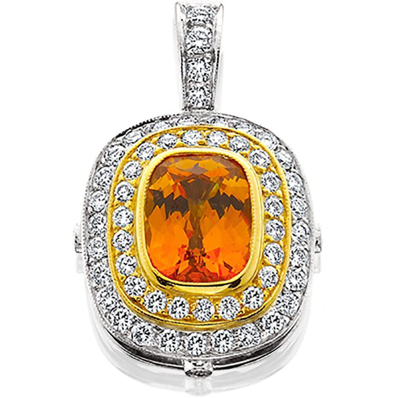 JM007; 18K White and Yellow Gold Pendant w/Spessartite Garnet and Diamonds
