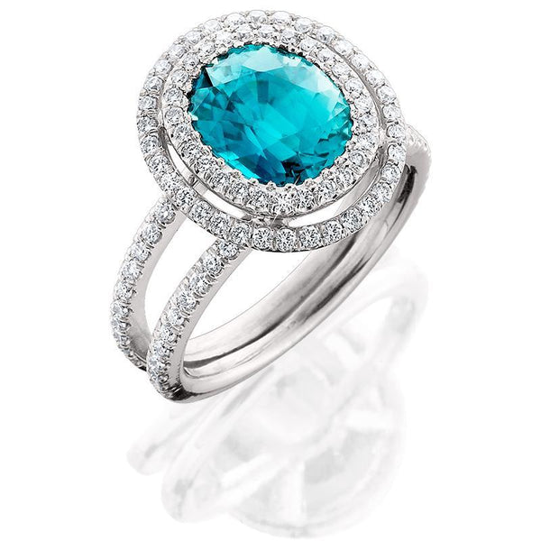 JM008; 18K White Gold Blue Zircon and Diamond Ring