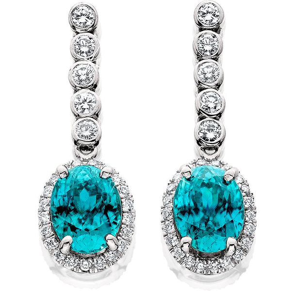 JM009; 14K White Gold Earrings w/Oval Blue Zircon and Diamonds
