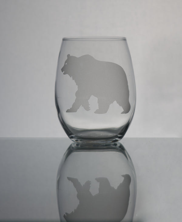 GL007G; 15oz Stemless Wine Glass w/Grizzly Bear
